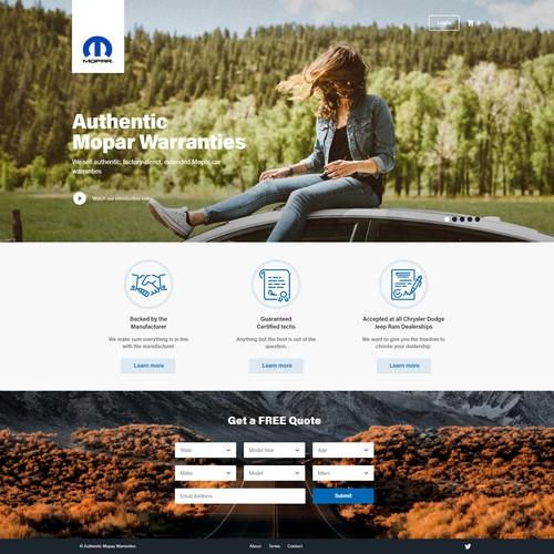 Landing Page for Mopar