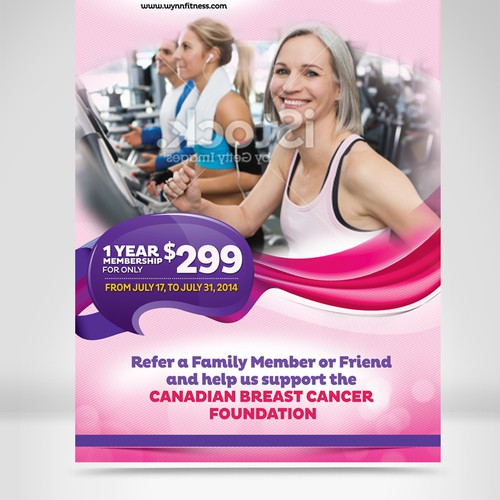 Create an eye catching ceiling banner for Wynn Fitness Clubs