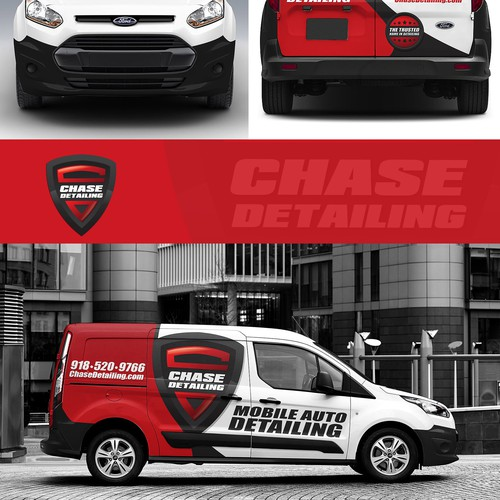 Minimalist car wrap for chase detailing