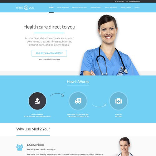 Design a Professional One Page Website for a Medical Company