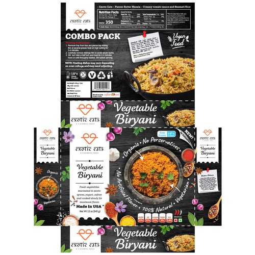 Packaging for Exotic Eats Vegetable Biryani