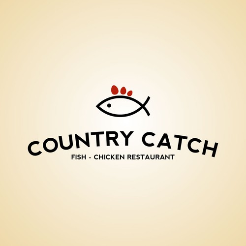 Minimal symbol logo for fish/chicken restaurant