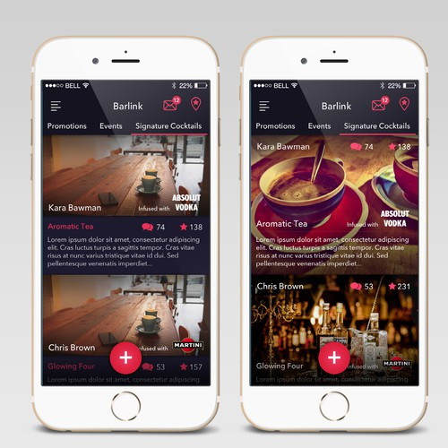 Listing Page for a Bar app