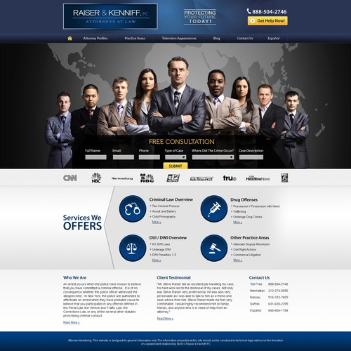 New Homepage For Criminal Law Firm