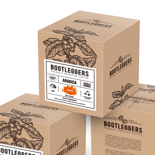 box package for Bootleggers coffee
