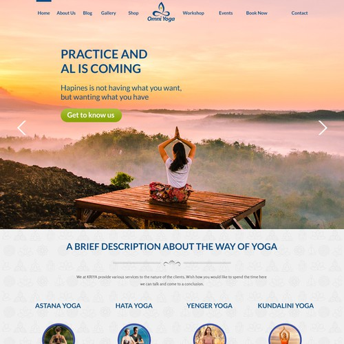 New yoga studio needs beautiful website