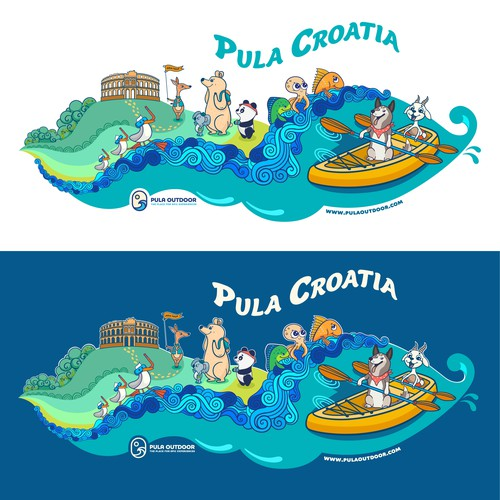 """T-shirt design for """"Pula Outdoor"""" company"""