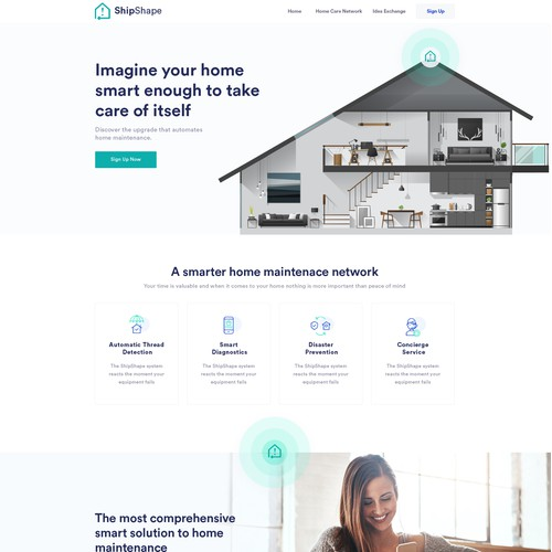 Landing page for a start up smart home systems technology company