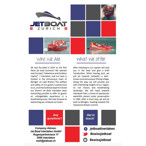 enjoy the ride with Jetboat Zurich - bring this feeling on the flyer