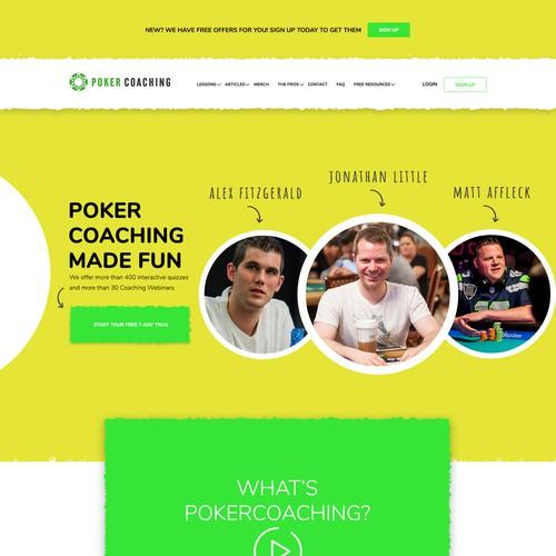 Fun Landing page for poker coaching