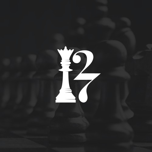 King chess piece and 27 forming the letter R