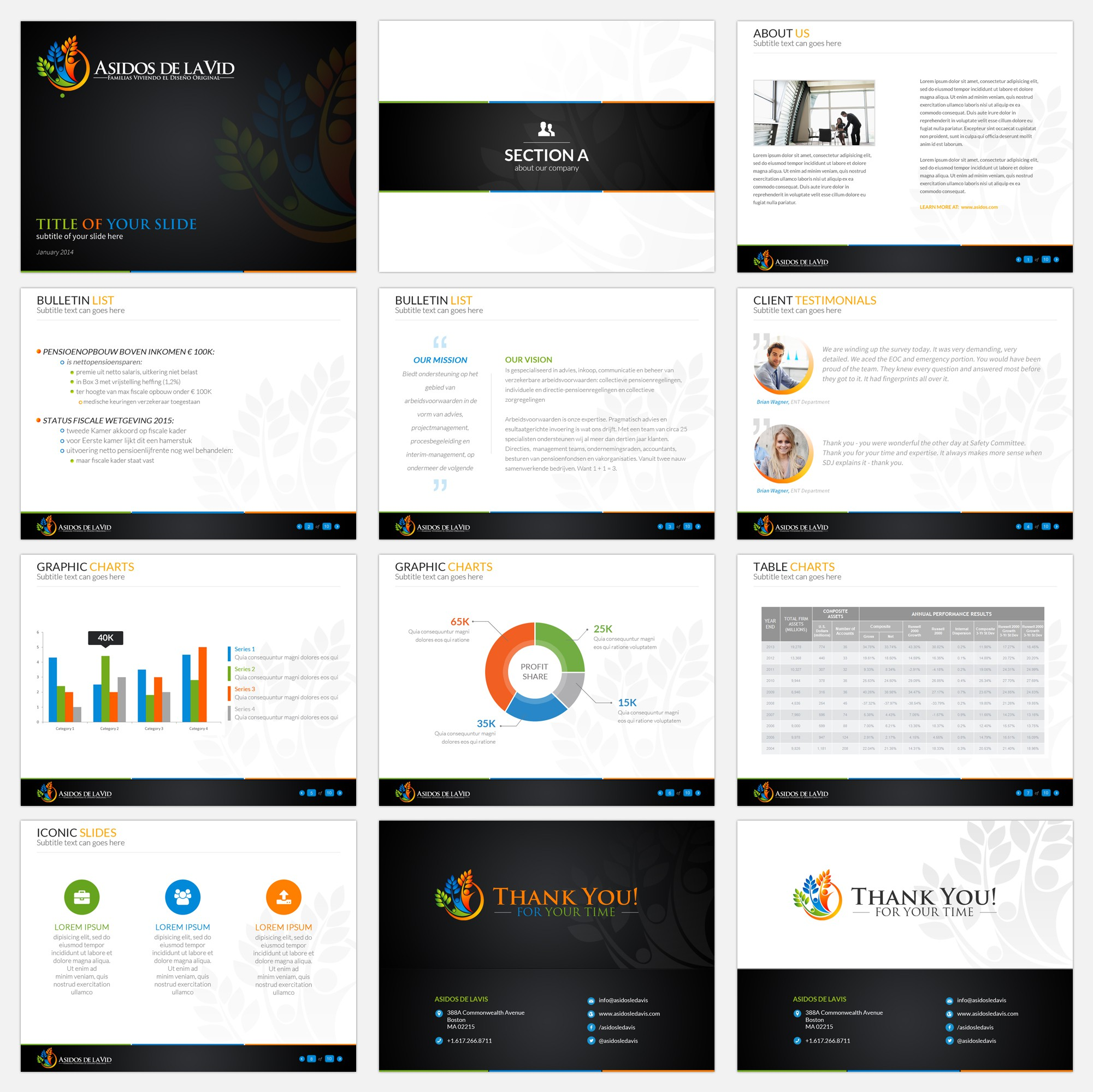 Slick, clean Templates for PowerPoint and others needed forAsidos de la Vid
