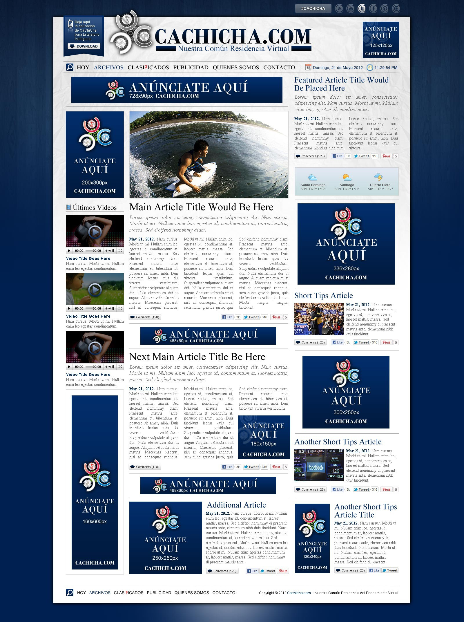 Website Design (Home Page Only) 'Newspaper Style'