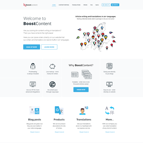 BoostContent - Webiste design for content translation company