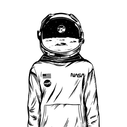 Hand-drawn astronaut illustration