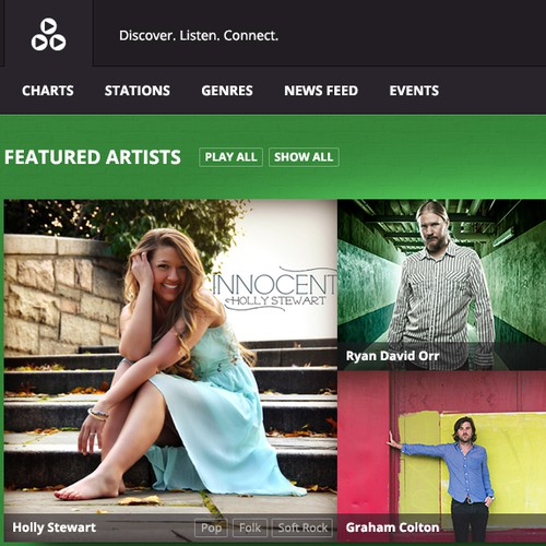 Web site design for music social network and streaming service