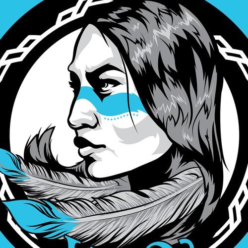 Native American Warrior Woman Emblem