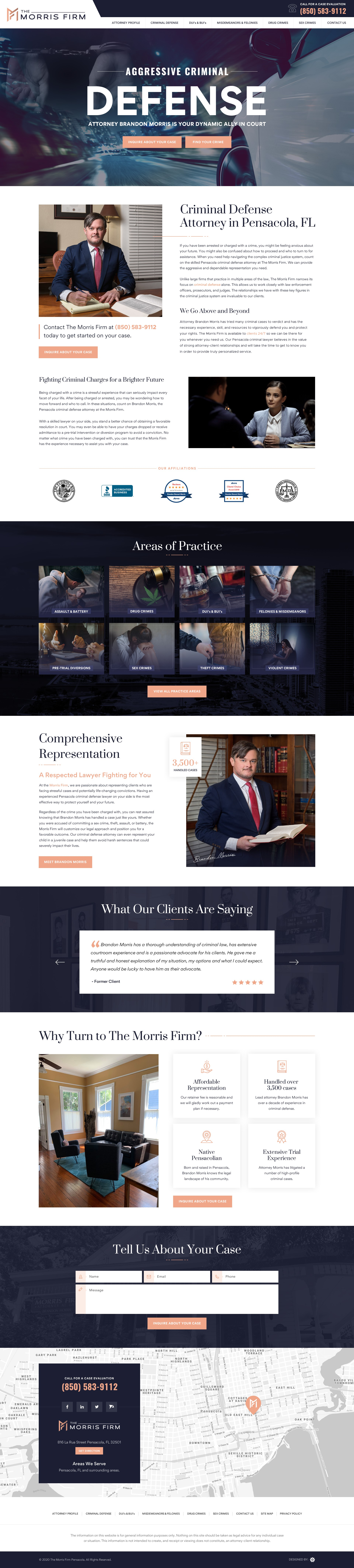 Sleek and powerful website design for a criminal defense attorney
