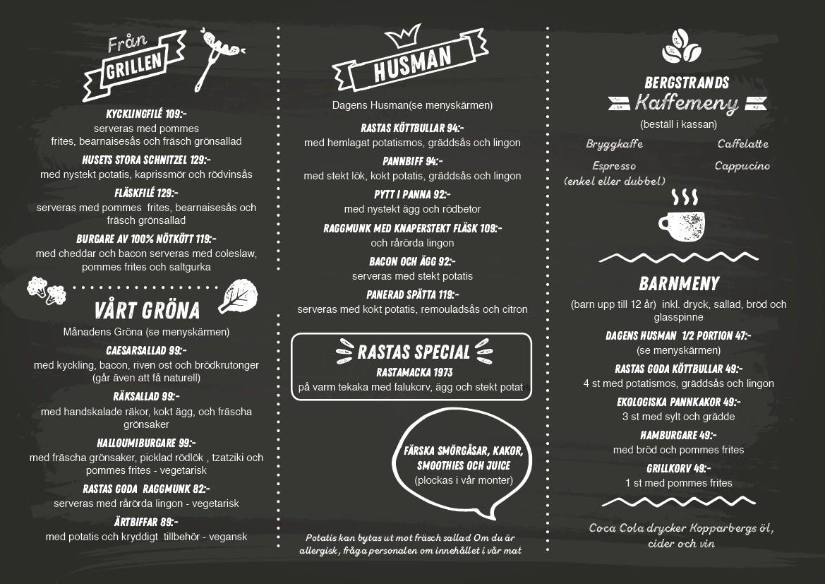 Menu for Rasta Restaurants in Sweden