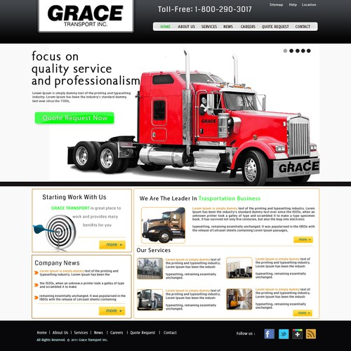 Create the next website design for Grace Transport Inc.