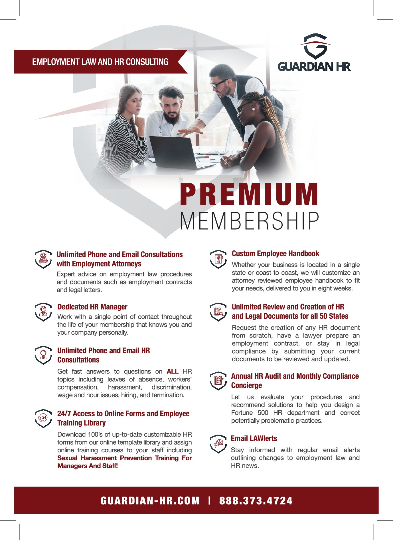 Design a professional, modern flyer for an HR and employment law consulting company