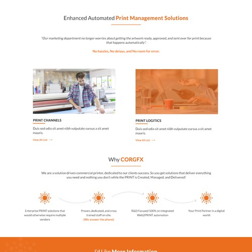 Website Homepage Redesign for Commercial Printing Company
