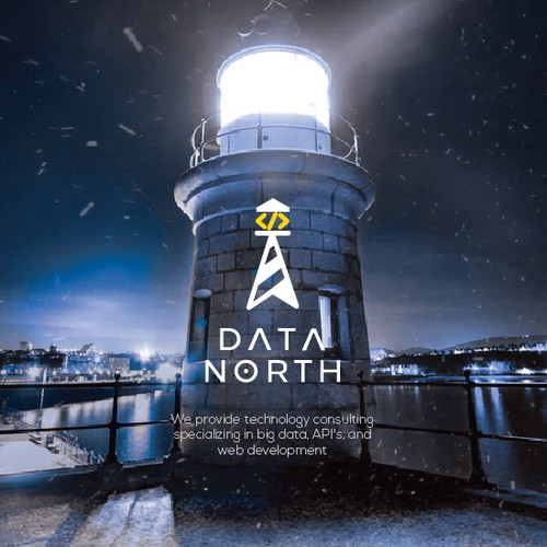 Lighthouse Logo with north and code symbol