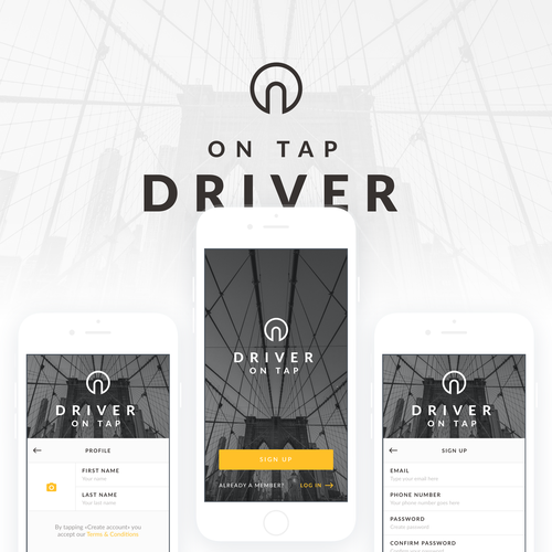 Mobile app design for an uber-like service
