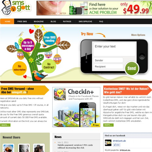 Create the next website design for SMSGott.de Redesign - the biggest German Free SMS site