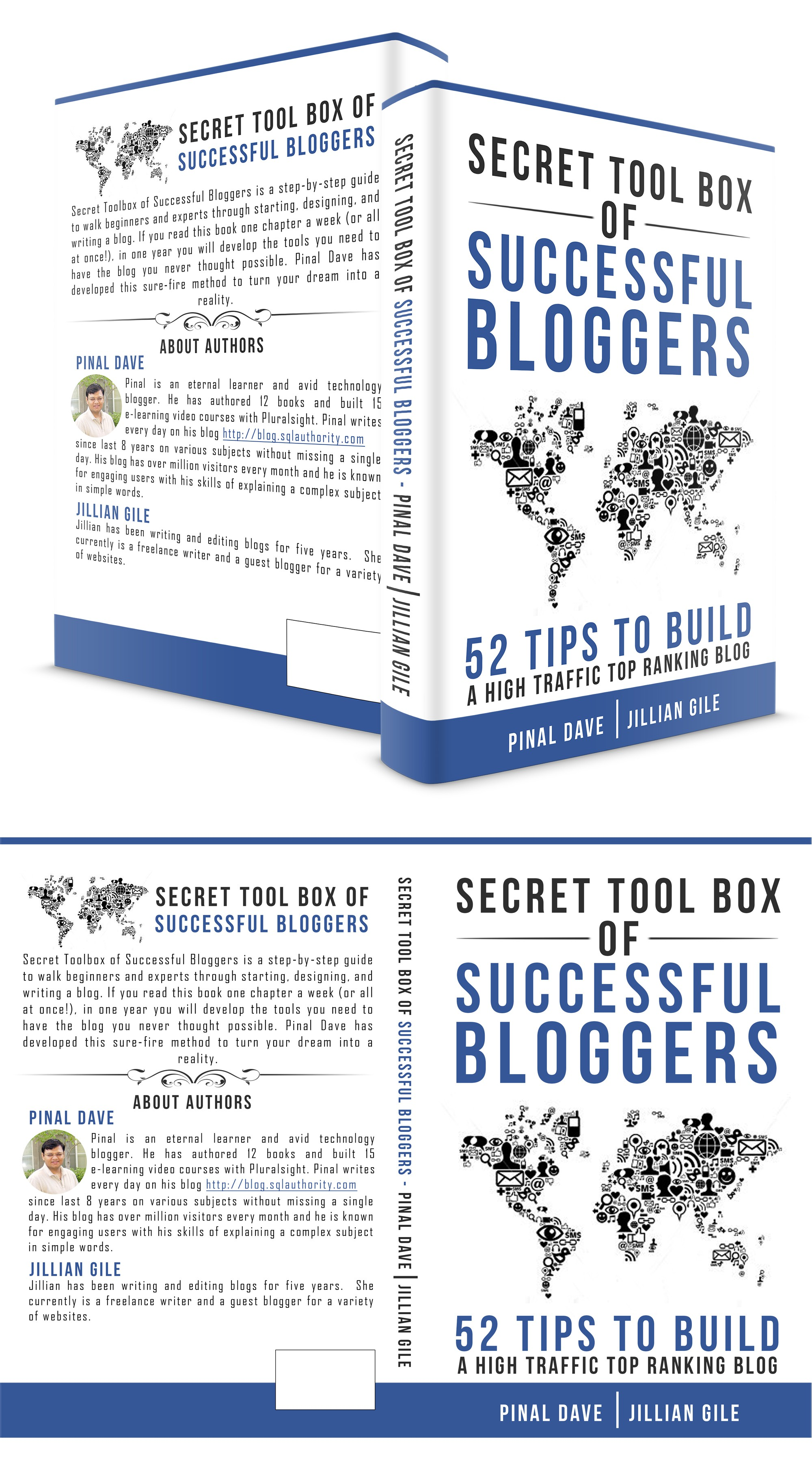 Innovative Vibrant Book Cover for Book of Blogging - 52 short chapter book