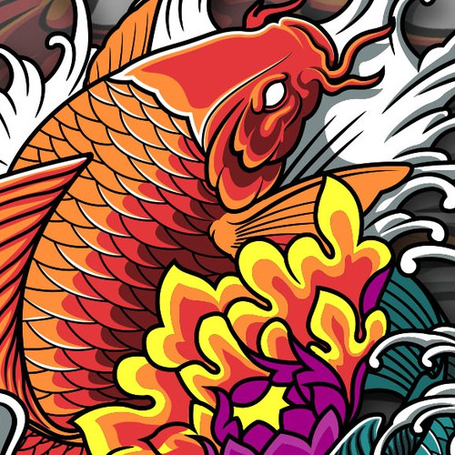 koi fish t shirt design