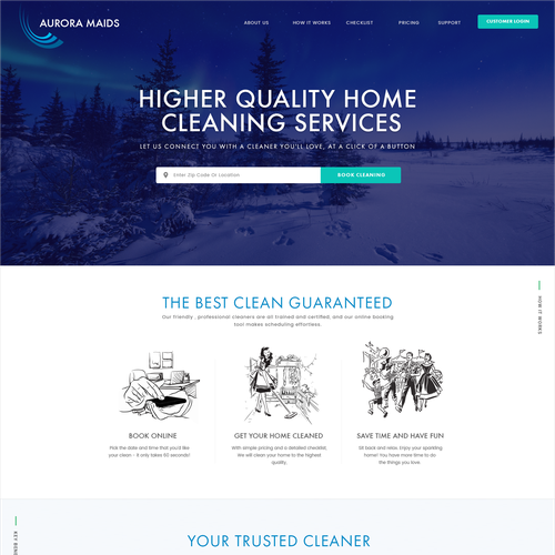 Homepage Design For a Cleaning Tech Company