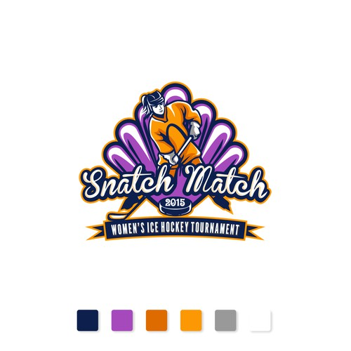 Create a fun logo for a women's ice hockey tournament- SNATCH MATCH