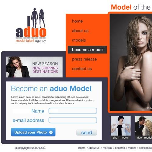 website mock-up pentru agentie de foto-modele
