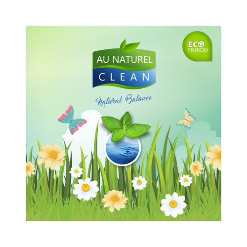 Enviromental cleaning product label for Au Naturel Clean
