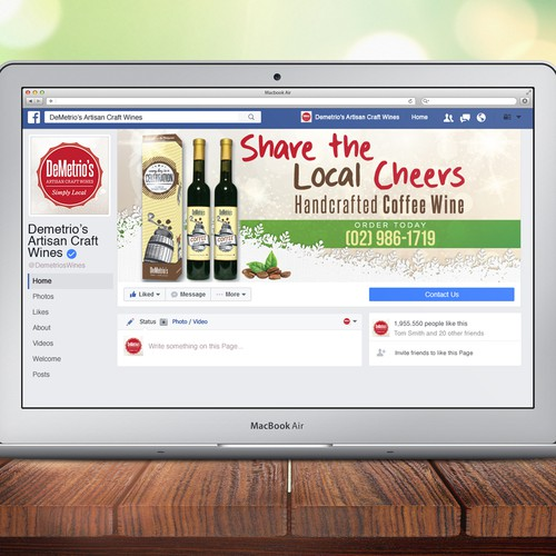 Christmas Facebook Cover for Wine Company