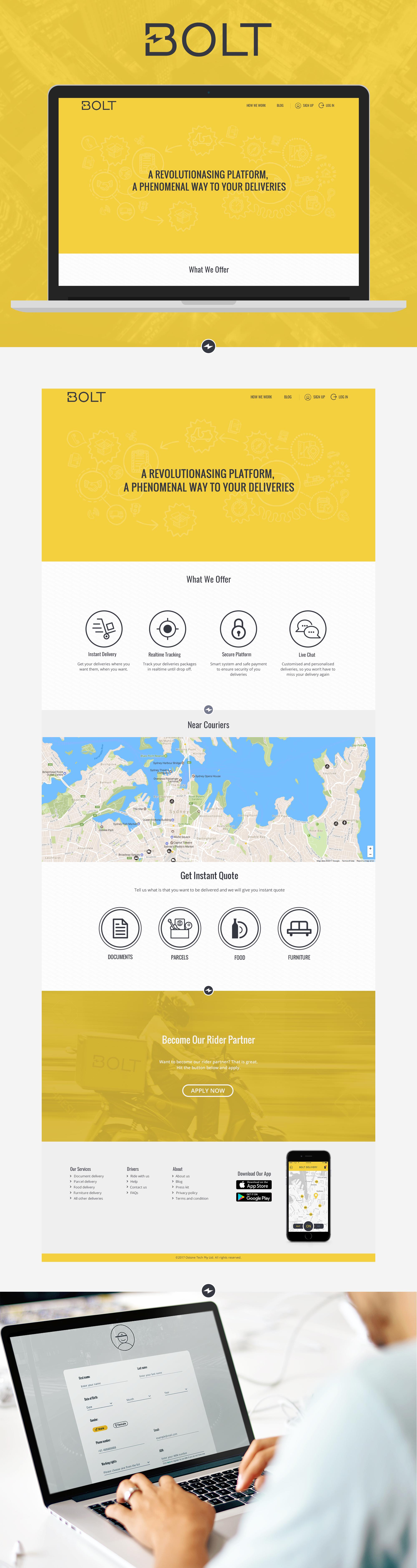 Webpage design for Bolt Delivery