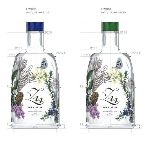 Gin Bottle & packaging design + merchandising