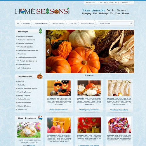 Website Design for Ecommerce Business - Seasonal Decorations