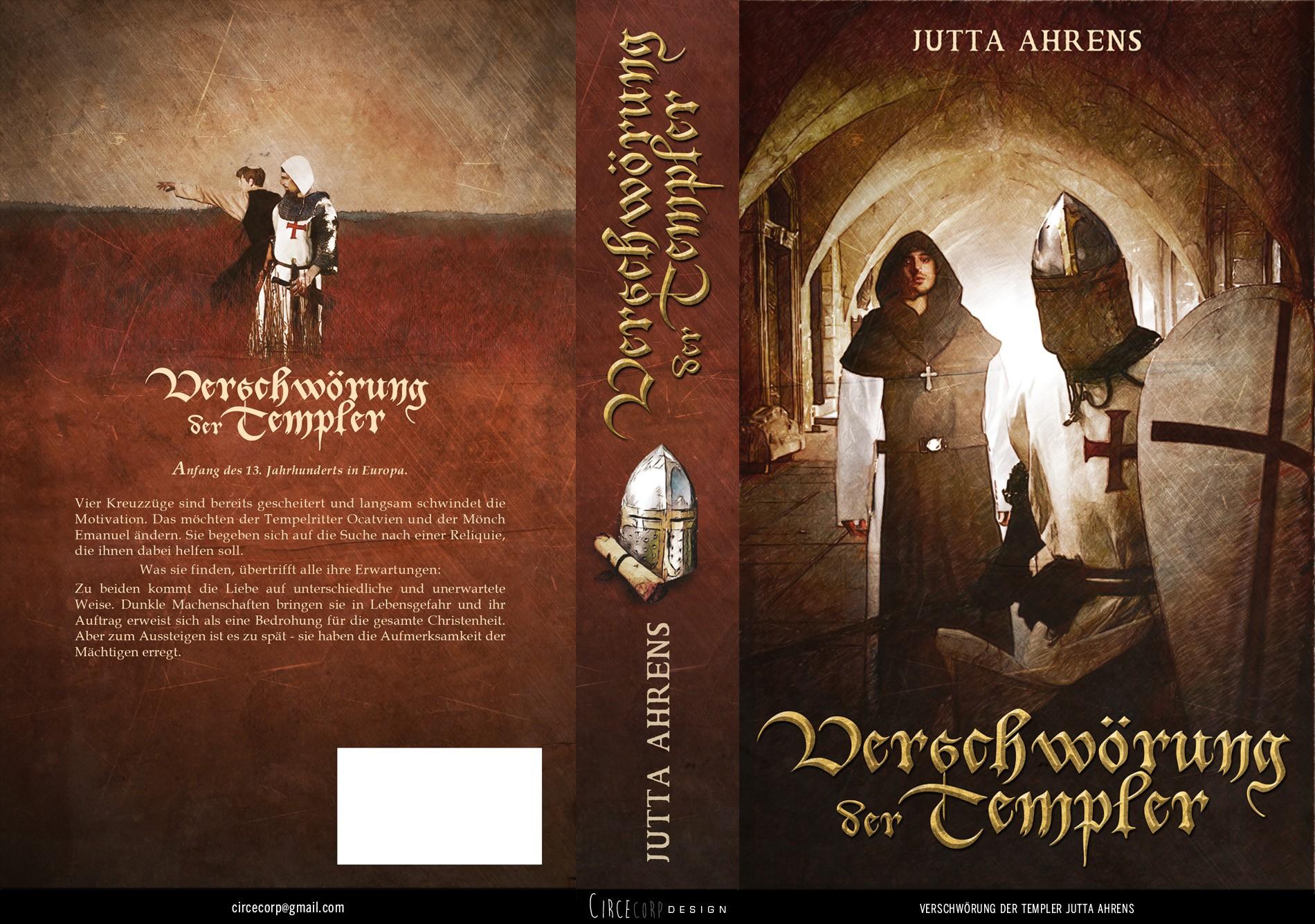 "Buchcover ""Verschwörung der Templer"". Historischer Roman aus dem 13. Jahrhundert."