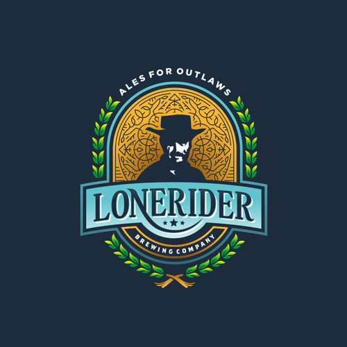 classic logo for lonerider brewing company