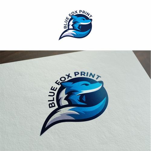 blue fox print