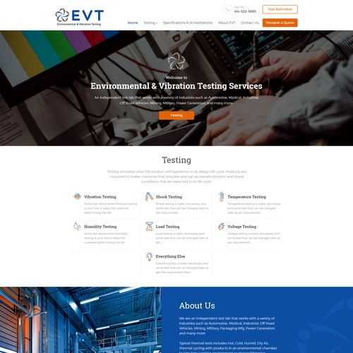 Home page concept for EVT Services