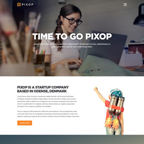"Present Pixop ""a startup company"" in a professional way"