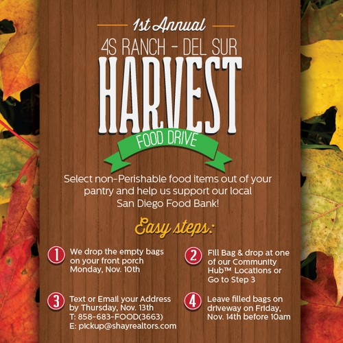 Create Attractive Food Drive Postcard with Fall/Harvest theme - Need ASAP