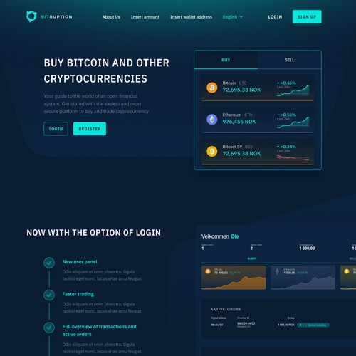 Crypto buy and sell homepage
