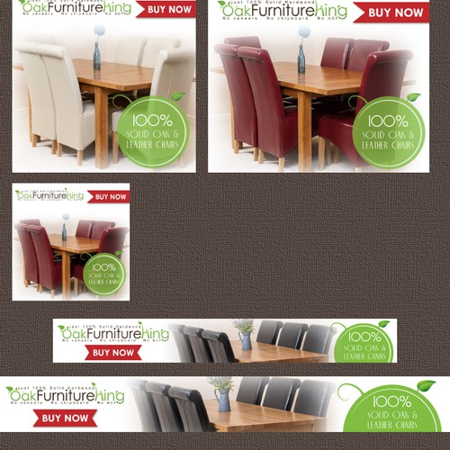 Static Google Display Ads for Oak Furniture King leading UK Hardwood furniture retailer