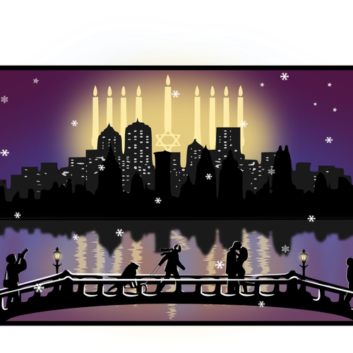 Illustration for Hanukkah Holiday Greeting Card