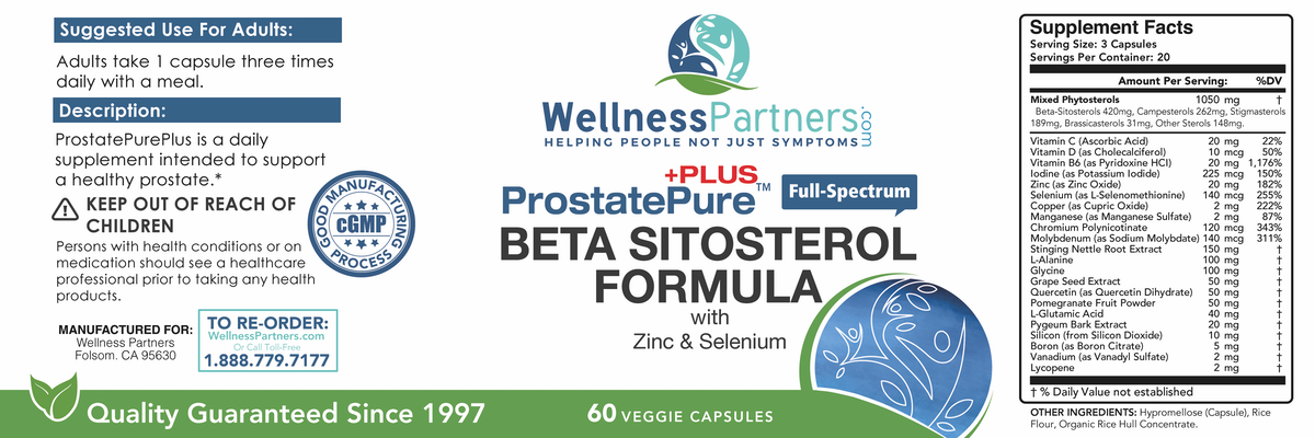 WellnessPartners ProstatePure Plus Nutrition Ingredients redesign
