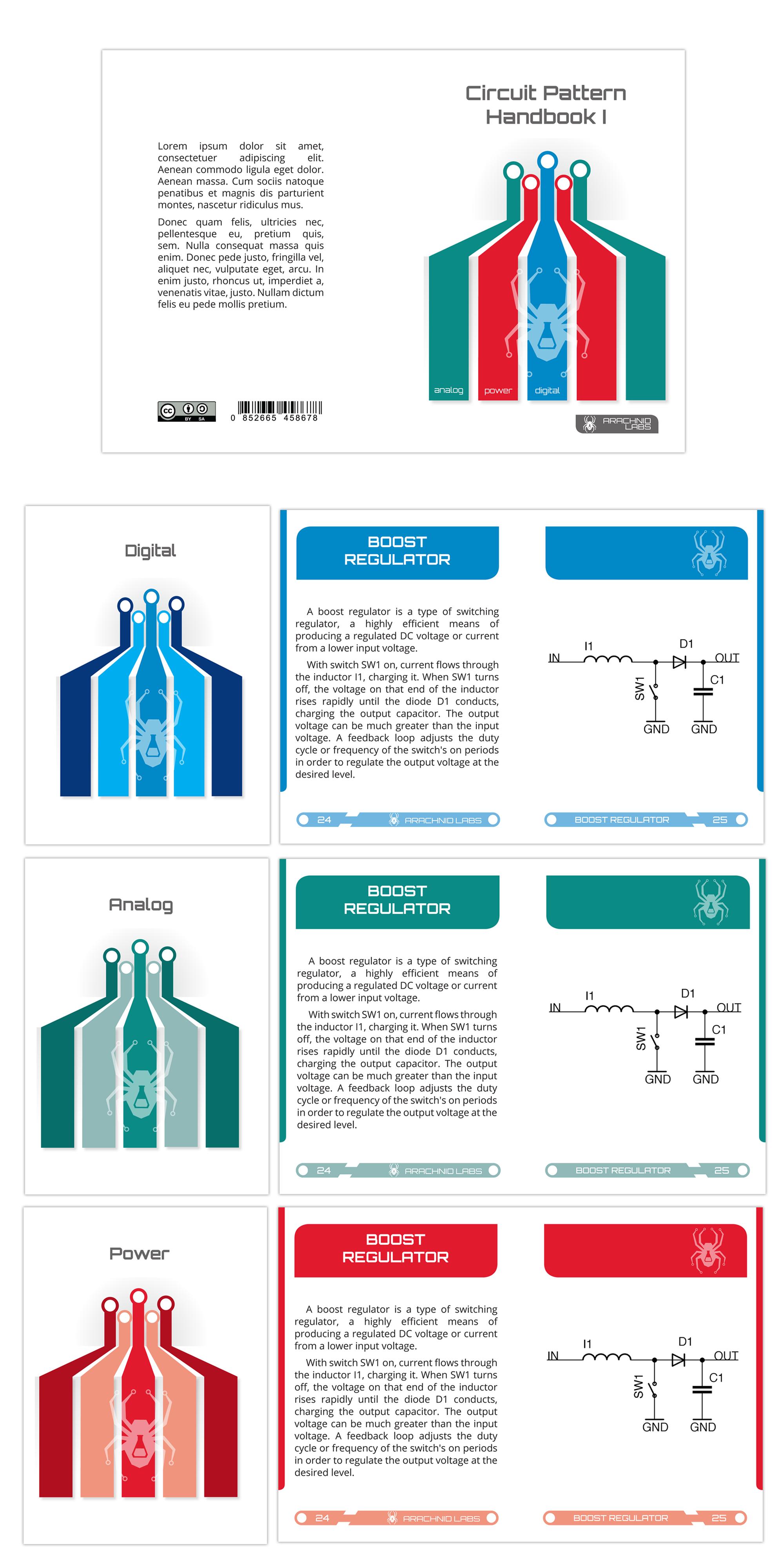 Create an electronics flashcard book layout for Arachnid Labs